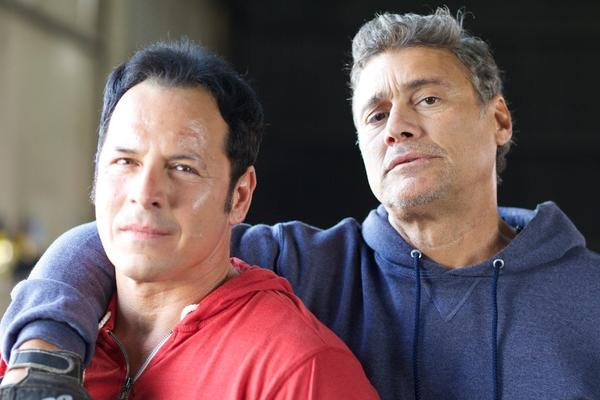 "Hector Echavarria and Steven Bauer in ""Chavez: Cage of Glory."""