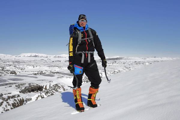 Nick Cienski, in April 2013, testing prototype gear and apparel on Europe's largest glacier.
