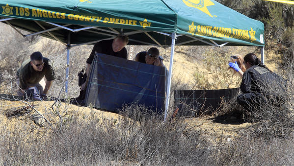 Investigators from the Los Angeles County Sheriff's Department study the scene off Lake Hughes Road in Castaic where a burned body was discovered.