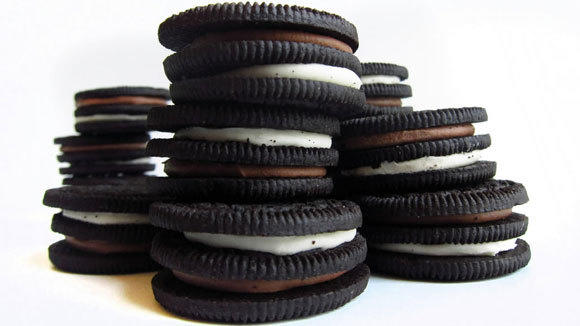 A still life of Double-Stuf Oreos, made by Mondelez International.