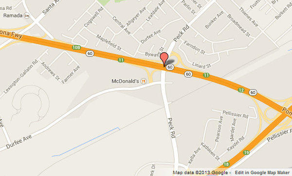 Approximate location, shown in red, where a motorcyclist was fatally struck by a big rig.