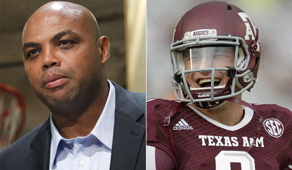 NBA commentator and Auburn supporter Charles Barkley, left, says he finds Texas A&M quarterback Johnny Manziel so annoying that he might root for Tigers rival Alabama against the Aggies this weekend.