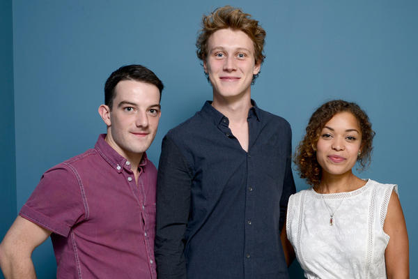 (L-R) Actors Kevin Guthrie, George MacKay and Antonia Thomas of 'Sunshine On Leith' pose at the Guess Portrait Studio during 2013 Toronto International Film Festival on September 9, 2013 in Toronto, Canada.