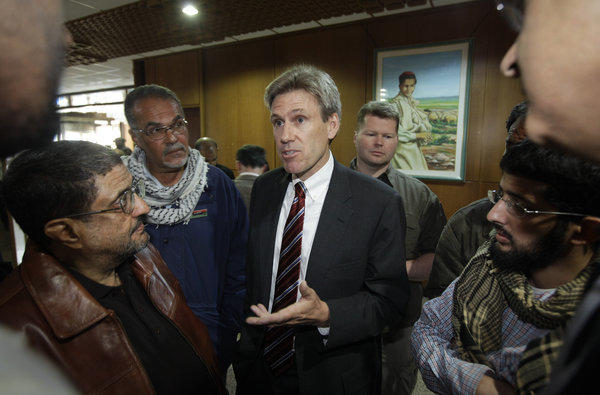 The family of slain U.S. Ambassador Christopher Stevens, photographed here on April 11, 2011, in Benghazi, Libya, announced the establishment of an endowment fund at UC Berkeley.