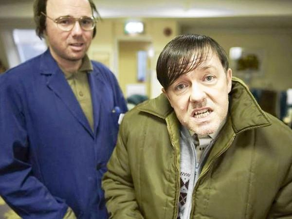 "Ricky Gervais, right, and Karl Pilkington in the Netflix comedy ""Derek."""