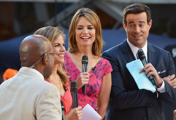 (L-R) Al Roker, Natalie Morales, Savannah Guthrie and Carson Daly host NBC's 'Today' in Rockefeller Plaza in New York, New York.
