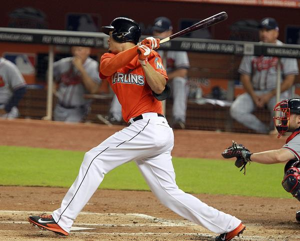 The Miami Marlins' Giancarlo Stanton, hits a single to the right in the first inning against the Atlanta Braves at Marlins Park in Miami, Florida, on Wednesday, September 11, 2013. (Pedro Portal/EL Nuevo Herald/MCT)