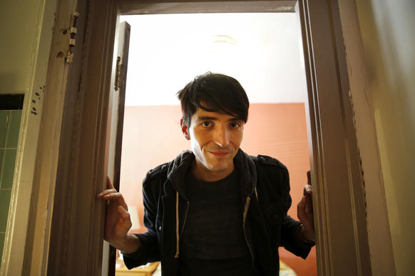 """Portrait of filmmaker and former Chicago theater actor David Dastmalchian on the set of film """"Animals"""" being shot at the Milshire Hotel (2525 N Milwaukee Ave.) in Chicago."""