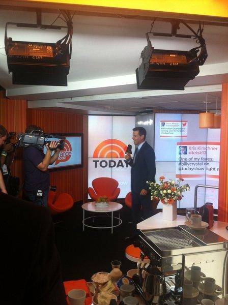 "Carson Daly on the new set of ""Today,"" which will officially be revealed to viewers Monday."