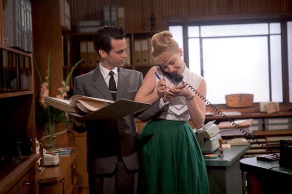 "Romaine Duris and Deborah Francois star in ""Populaire."""