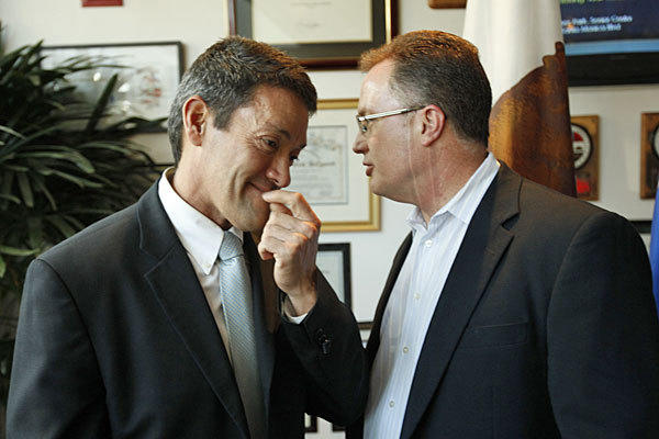 West Hollywood officials John Duran, left, and Jeffrey Prang, who initiated the ban, are shown last year.