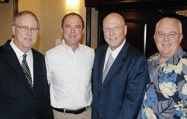 Burbank Sunrise Rotary honoree Jack O'Neill, third from left, with Lee Stacey, from left, Adam Schiff, and Greg Simay at Saturday's Silver Anniversary gala.