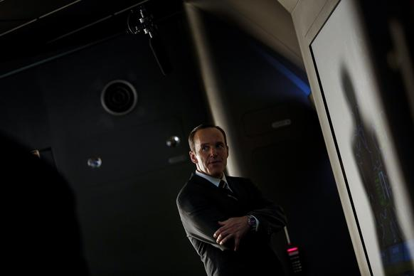 Clark Gregg as agent Phil Coulson during a scene.