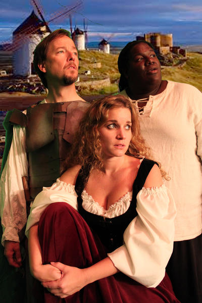 "David Lowe (from left), Alexa Baldwin and Aladdin Demps star in ""Man of La Mancha"" at the Shoestring Theatre."