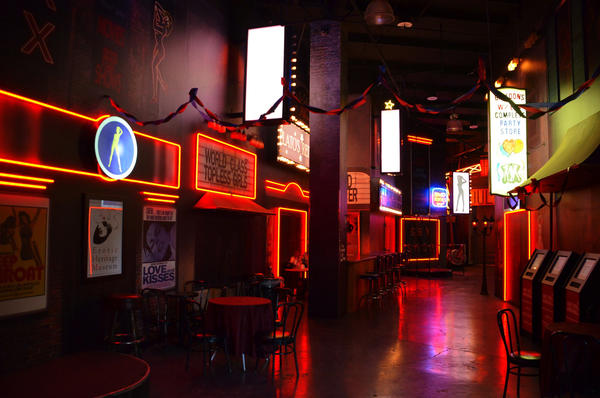 A street replicating a red light district is one of many exhibits at the Erotic Heritage Museum in Las Vegas.