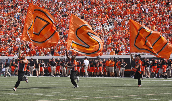 Members of the Oklahoma State spirit squad.