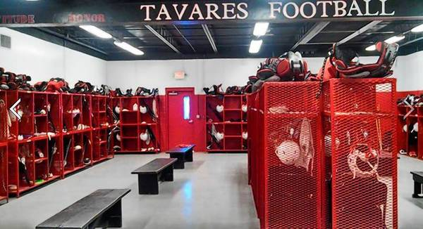 Interior shot of Tavares High School's locker room.