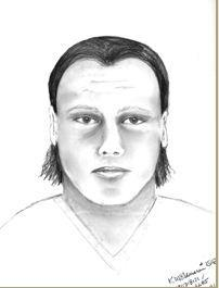 Sketch of suspect wanted in connection with slaying of Sylvia Marie Flores, whose body was found in a Redlands orange grove.