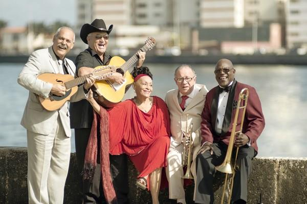 From left, Barbarito Torres, Eliades Ochoa, Omara Portuondo, Guajiro Mirabel and Jesus Aguaje Ramos of the Orquestra Buena Vista Social Club.