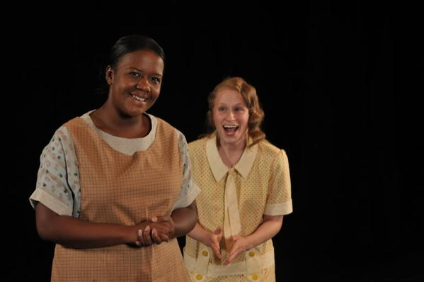 "Erica McLaughlin (left) as Minna and Christine Demuth as Wilma in Rep Stage's production of ""A Young Lady of Property."""