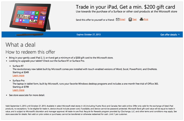 Microsoft Surface iPad trade in