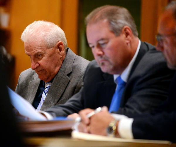 Dominic Badaracco Sr., far left, with his lawyers, Edward Gavin and Richard Meehan on the second day of his trial in Bridgeport Superior Court., Tuesday, June 25, 2013.