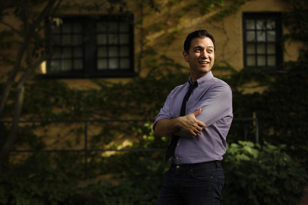 Nicholas Phan, Artistic Director for the Collaborative Arts Institute of Chicago, poses outside the Martin Theater at Ravinia Festival in Highland Park, where he was to perform later as tenor with The Knights.
