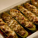 Zucchini stuffed with italian sausage