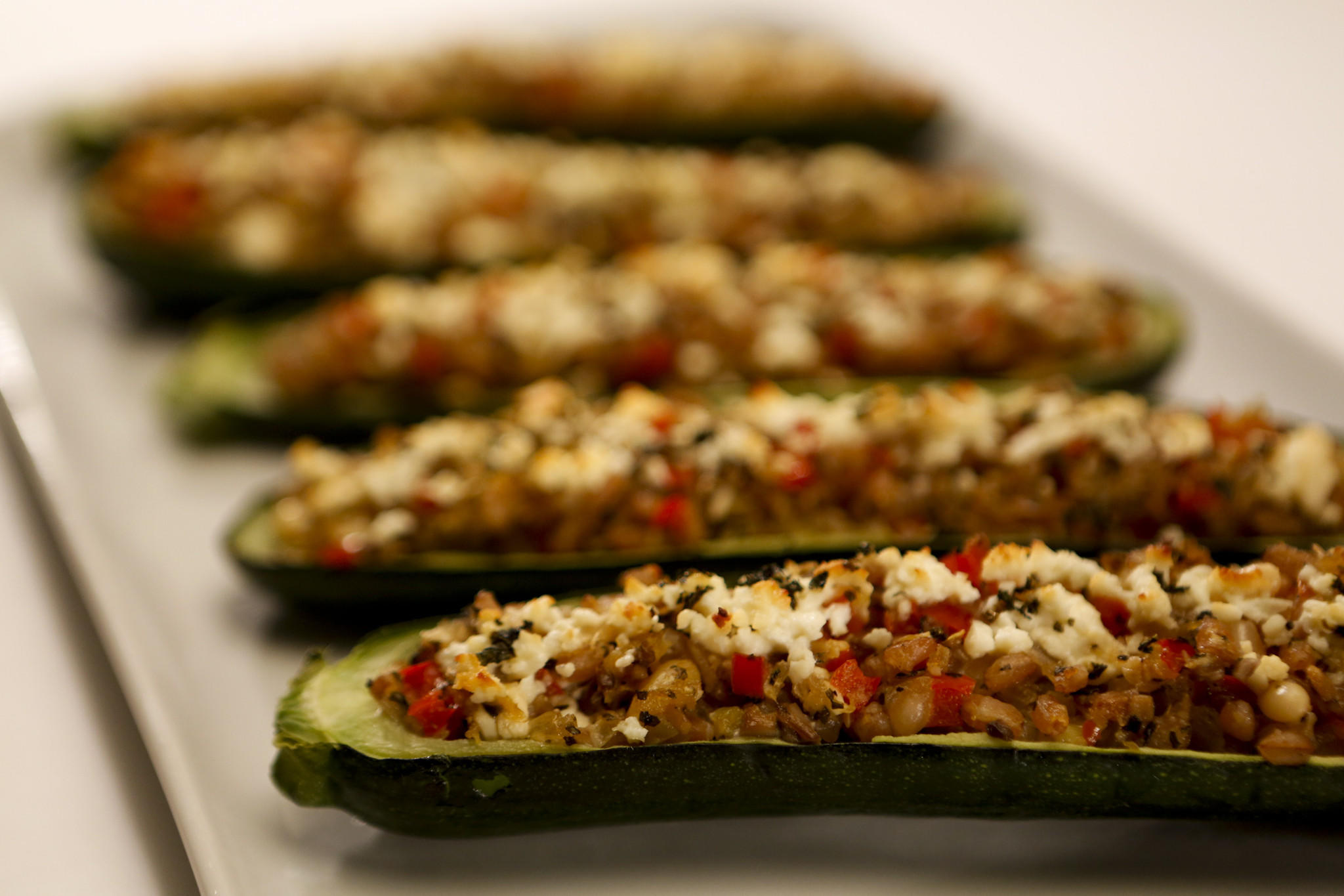 Recipe: Zucchini stuffed with farro, red pepper and feta ...