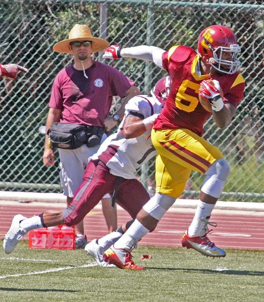 GCC's Marcus Tappan intercepted two passes versus Compton College, including one for a score in the Vaqueros' 35-7 victory last week. GCC is hoping to go 2-0 with a win at San Bernardino Valley College this Saturday. (Tim Berger/Staff Photographer)