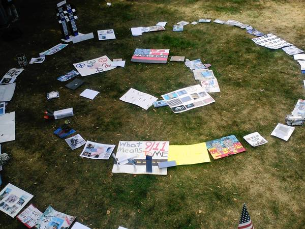 A collection of Oak Park and River Forest High School students' responses to the events of Sept. 11, 2001, displayed in Scoville Park on Wednesday, the 12th anniversary of the terrorist attacks.