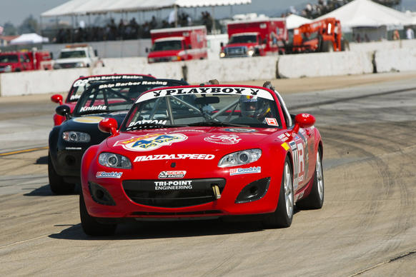 The Playboy Mazda MX-5 Cup at the Coronado Speed Festival on Saturday and Sunday is one of 11 races around the country. The cup is the entry level competition for production cars in SCCA Pro Racing. College freshman Elliott Skeer from San Marcos, Calif., who leads the MX-5 Cup championship standings this year, will compete.