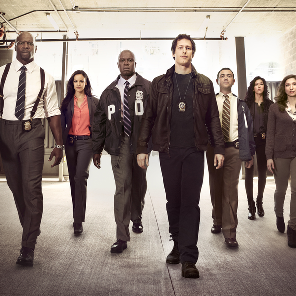 """Andre Braugher (third from left) in the cast of Fox TV's """"Brooklyn Nine-Nine"""""""