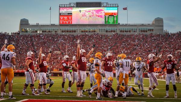 Nebraska players celebrate a touchdown during their win over Southern Mississippi last week. UCLA would be wise not to underestimate the Cornhuskers on their home turf.