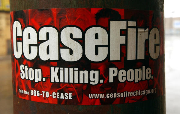 CeaseFire sticker on a utility pole on 79th St. east of Ashland