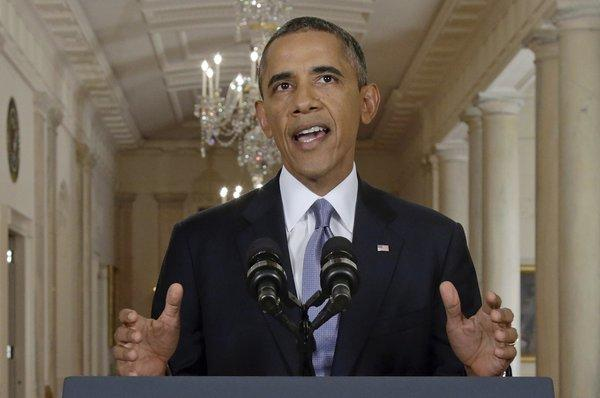 """""""If diplomacy fails,"""" President Obama said, """"the United States remains prepared to act."""" Obama is shown addressing the nation Tuesday night."""