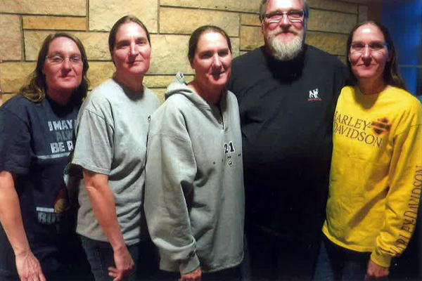 The Fischer quints are shown at Avera St. Luke's Hospital in December. From left are Annie Hoerner, Maggie Torres, Cathy Bales, James Fischer and Margie Walter.