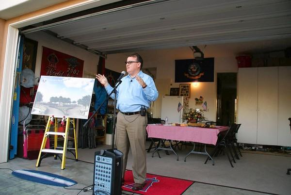 Mayor Jim Righeimer speaks Thursday evening at a home along Pacific Avenue for a Meet the Mayor session about Fairview Park.