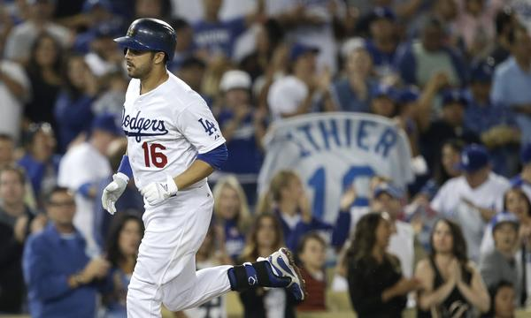 Dodgers center fielder Andre Ethier rounds the bases after hitting a home run against the Arizona Diamondbacks on Monday.