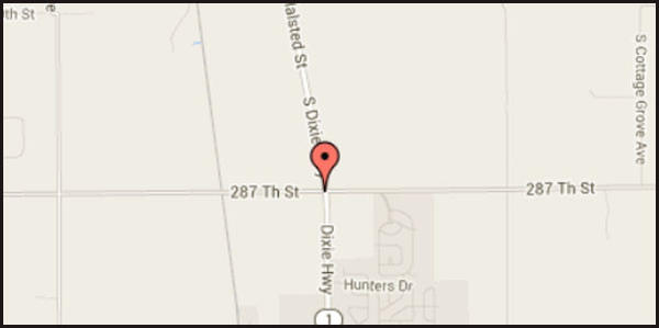 Map of location of fatal accident on Illinois Route 1 in south suburban Beecher.