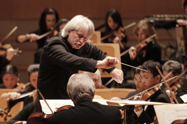 Pacific Symphony conductor Carl St. Clair conducts the Duke Ellington Orchestra at the Renee and Henry Segerstrom Concert Hall in Costa Mesa on May 16, 2013.