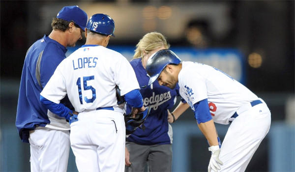 Andre Ethier will be out at least a few days after aggravating a left ankle injury during the Dodgers' 4-2 loss to the San Francisco Giants on Friday, according to Manager Don Mattingly.