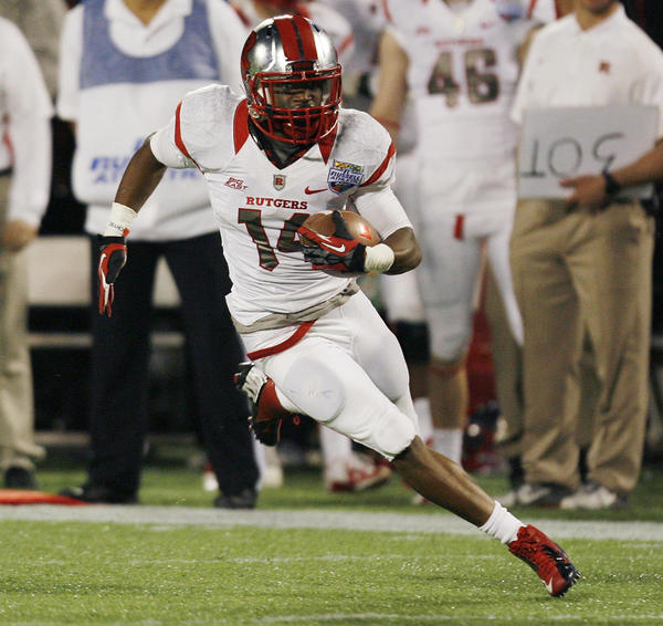 Rutgers receiver Miles Shuler runs after a catch against Virginia Tech during the Russell Athletic Bowl.