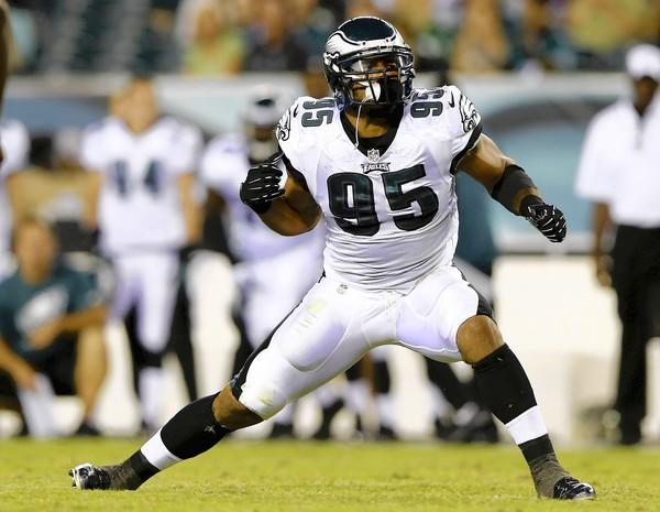 Mychal Kendricks #95 of the Philadelphia Eagles celebrates a stop in the first half against the Carolina Panthers on August 15, 2013 at Lincoln Financial Field in Philadelphia, Pennslyvania.