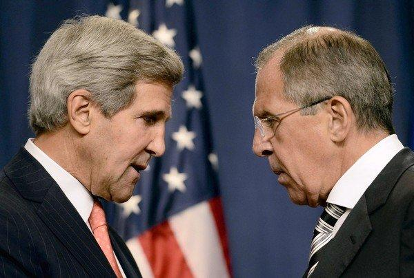 Secretary of State John F. Kerry speaks with Russian Foreign Minister Sergei Lavrov in Geneva.