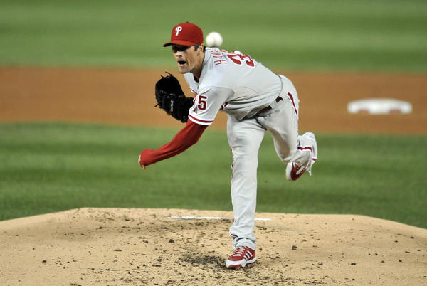 Sep 14, 2013; Washington, DC, USA; Philadelphia Phillies starting pitcher Cole Hamels (35) throws in the third inning against the Washington Nationals at Nationals Park.