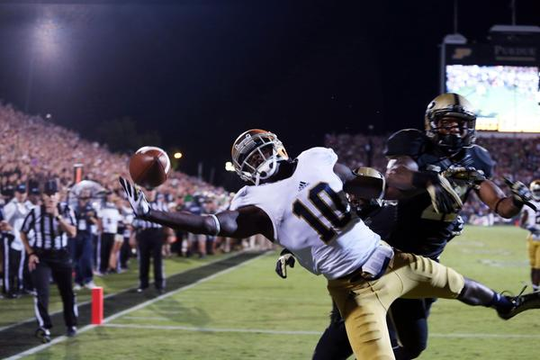 DaVaris Daniels tries to make a one handed catch in the end zone against Purdue's Ricardo Allen at Ross Ade Stadium.