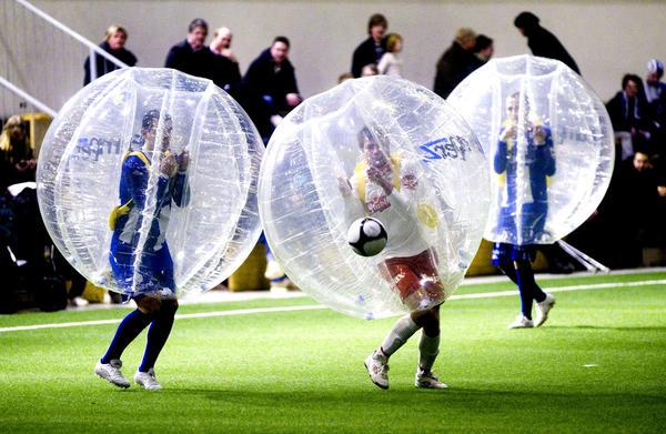 soccer in bubbles