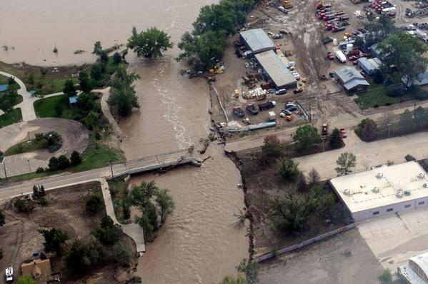 Aerial footage shows damage and flooding to Boulder, Colo., infrastructure destroyed by heavy rains, with some areas receiving as much as 18 inches in a 24-hour period.