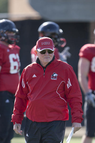 Northern Illinois offensive coordinator Mike Dunbar during spring football in 2012.